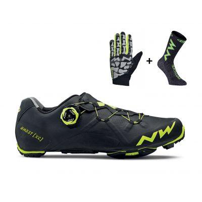 Ghost XC MTB-Schuh inkl. Skeleton Handschuh und Extreme Air Socks